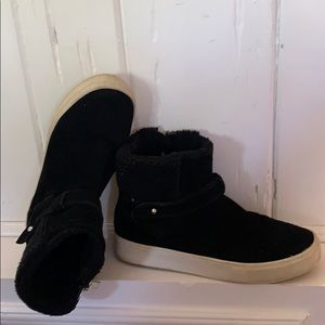 Marc Fisher Faux Fur Black Suede Booties size 38